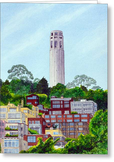 San Francisco's Coit Tower Greeting Card by Mike Robles