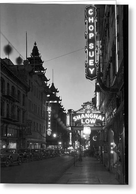 San Francisco�s Grant Avenue Greeting Card by Underwood Archives