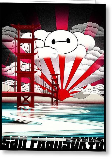 San Fransokyo Home Of The Baymax Greeting Card by Filippo B