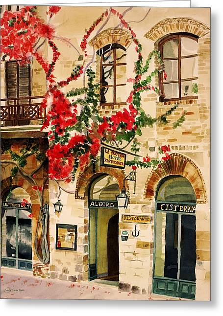San Gimignano Greeting Card by Judy Swerlick