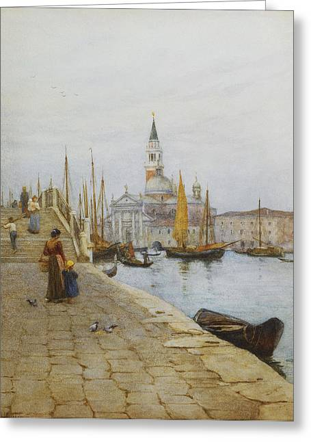 San Giorgio Maggiore From The Zattere Greeting Card by Helen Allingham