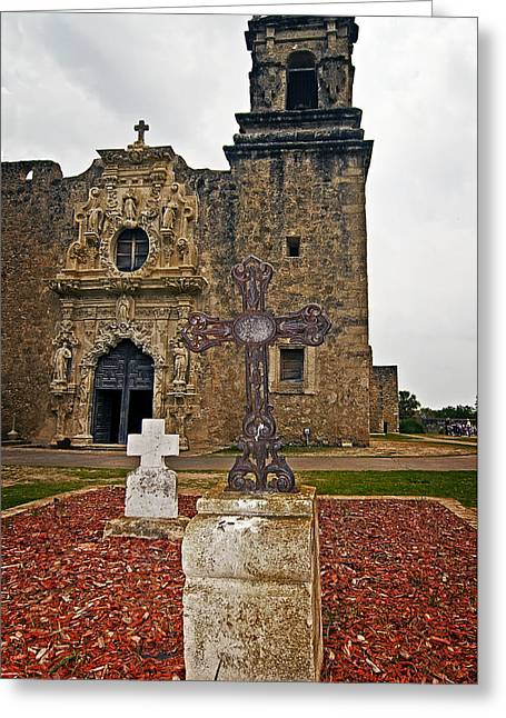 Greeting Card featuring the photograph San Jose Mission Crosses by Andy Crawford