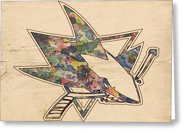 San Jose Sharks Hockey Poster Greeting Card
