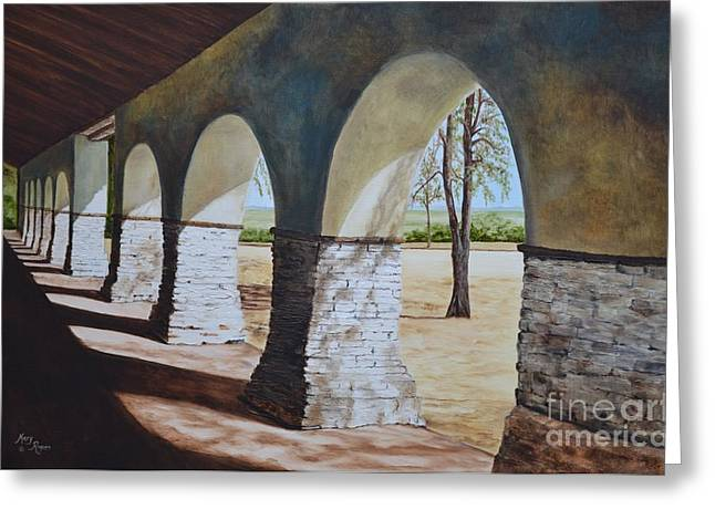 San Juan Bautista Mission Greeting Card by Mary Rogers