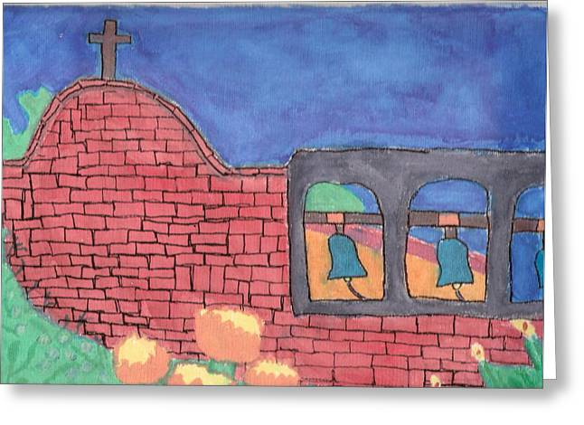 Greeting Card featuring the painting San Juan Capistrano by Artists With Autism Inc