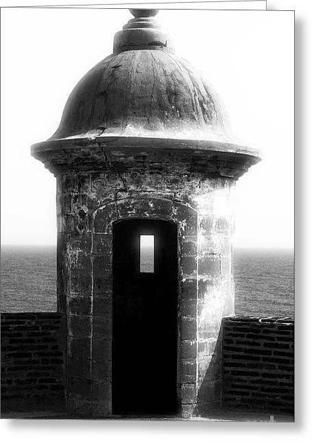 San Juan Guard Tower Greeting Card by John Rizzuto