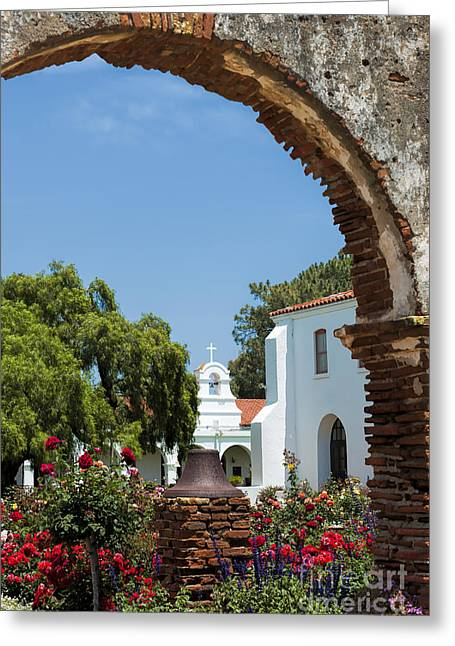 San Luis Rey - Mission Church Greeting Card by Sandra Bronstein