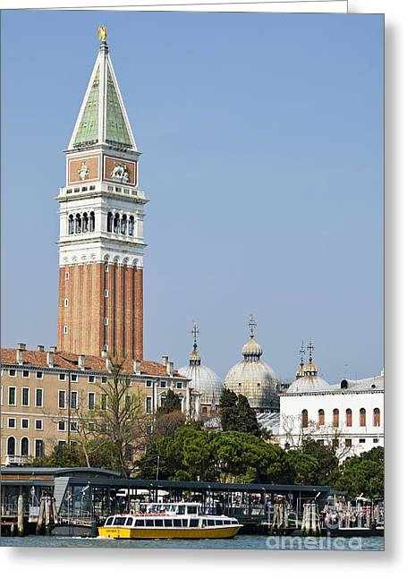 San Marco Bell Tower By Grand Canal Greeting Card by Sami Sarkis