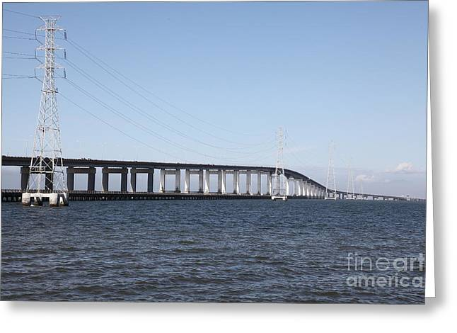 San Mateo Bridge In The California Bay Area 5d21889 Greeting Card by Wingsdomain Art and Photography