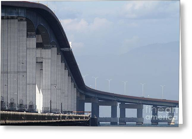 San Mateo Bridge In The California Bay Area 7d21914 Greeting Card by Wingsdomain Art and Photography