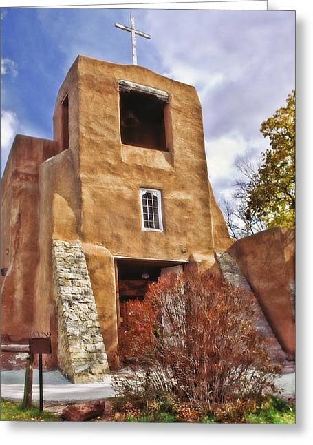 San Miguel Mission Greeting Card by David and Carol Kelly