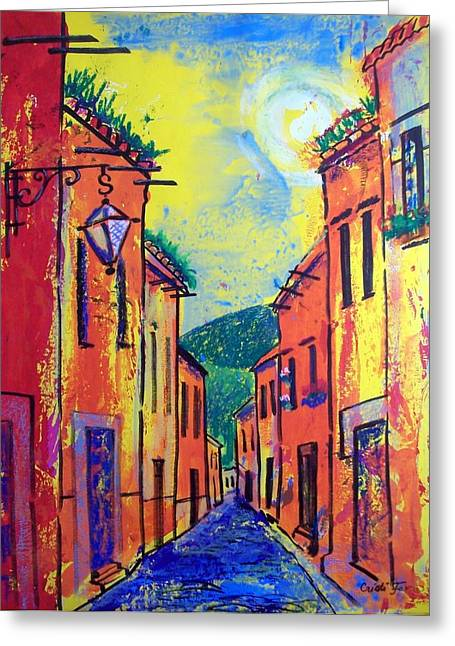 San Miguel Narrow Street Greeting Card by Cristiana Marinescu