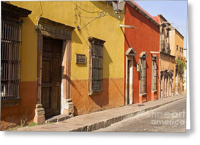 San Miguel Street Mexico Greeting Card by John  Mitchell