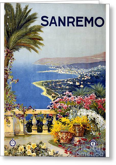 San Remo - Travel Poster For Enit - 1920 Greeting Card