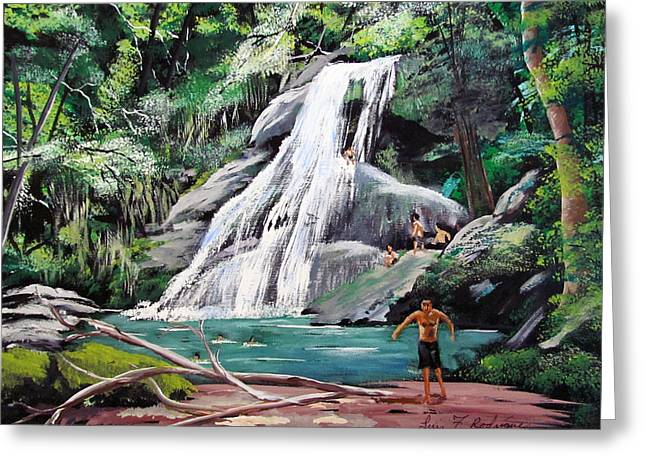 San Sebastian Waterfall Greeting Card by Luis F Rodriguez