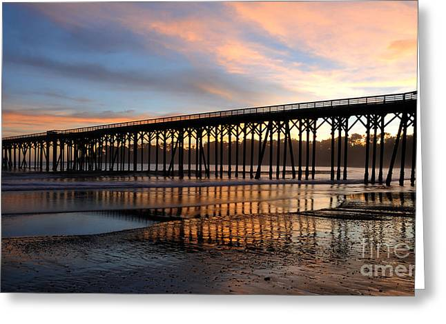 Greeting Card featuring the photograph San Simeon Pier by Vivian Christopher