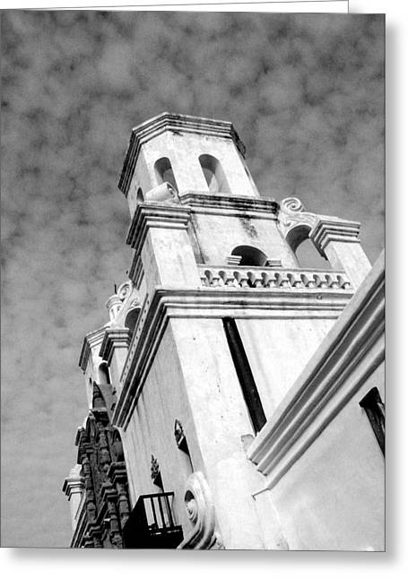 San Xavier Bell Tower Greeting Card by Dick Botkin