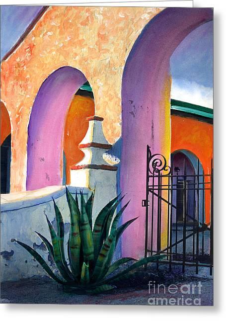 San Xavier Del Bac Archway Greeting Card by Cindy McIntyre