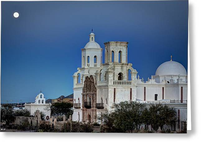 San Xavier Del Bac At Moonset 1 Greeting Card