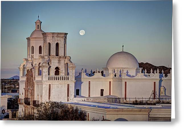 San Xavier Del Bac At Moonset 2 Greeting Card