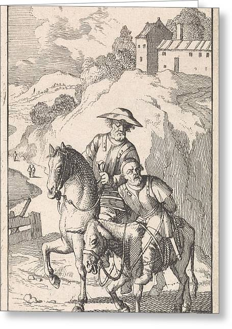 Sancho Is Tied Up By His Master On A Donkey Greeting Card by Caspar Luyken And Pieter Mortier