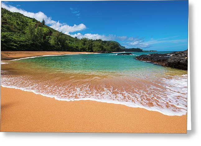 Sand And Surf At Lumahai Beach, Island Greeting Card