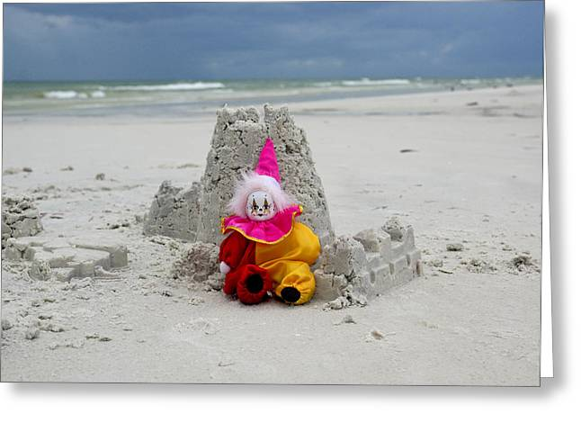 Sand Castle Jester Greeting Card by William Patrick