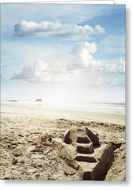 Sand Castle Greeting Card by Les Cunliffe