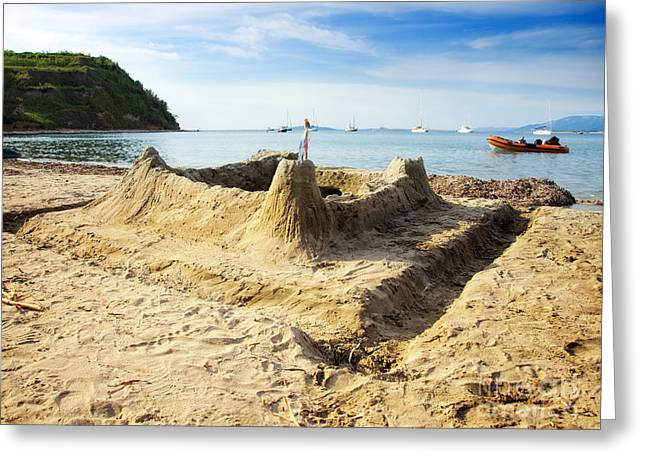 Sand Castle Greeting Card by Sinisa Botas