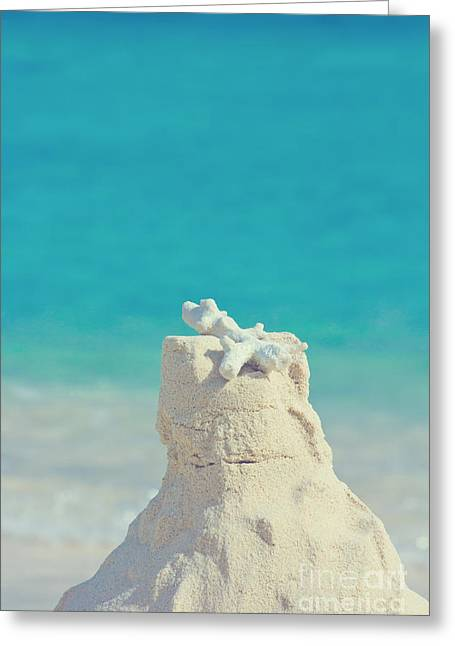 Sand Castle With Coral Against Calm Turquoise Sea 2 Greeting Card by Beverly Claire Kaiya