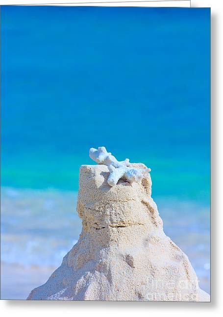 Sand Castle With Coral Against Calm Turquoise Sea Greeting Card by Beverly Claire Kaiya