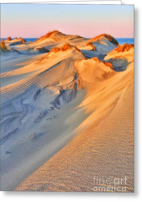 Sand Dune Sunset - Outer Banks Greeting Card by Dan Carmichael