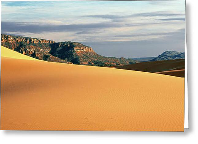Sand Dunes In A Desert At Dusk, Coral Greeting Card