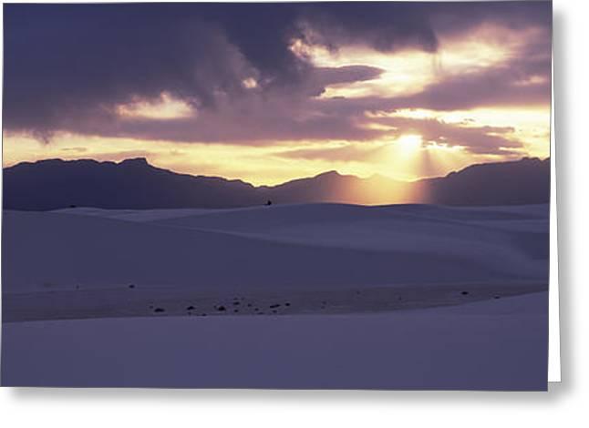 Sand Dunes In A Desert At Dusk, White Greeting Card