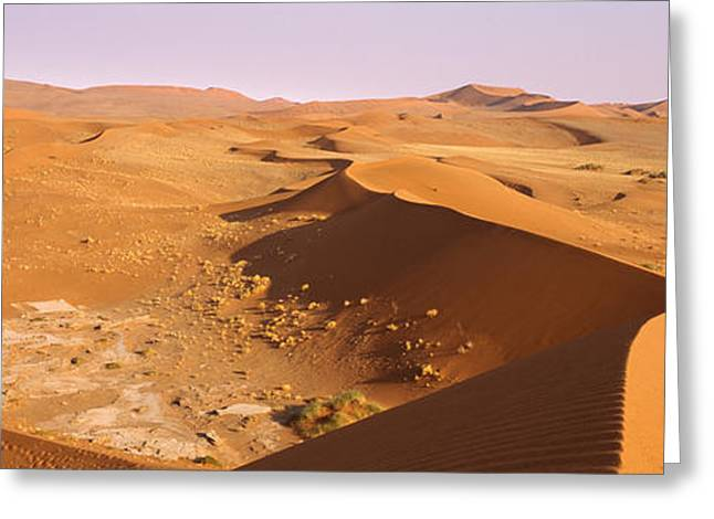 Sand Dunes In A Desert, Namib-naukluft Greeting Card by Panoramic Images