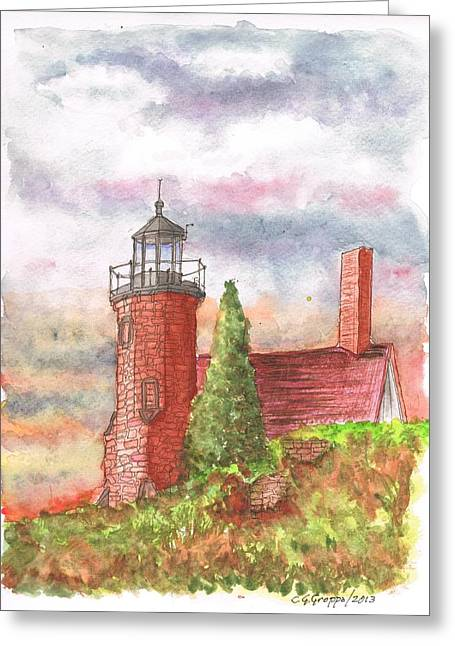 Sand Island Lighthouse - Wisconsin Greeting Card