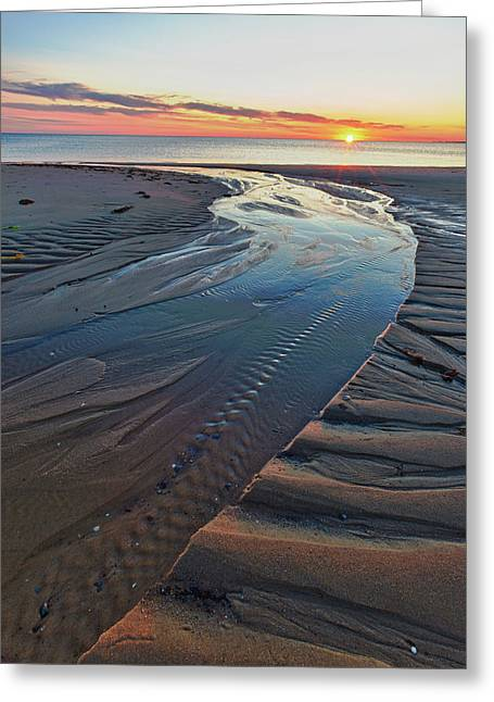 Sand Patterns At Sunset On Bound Brook Greeting Card