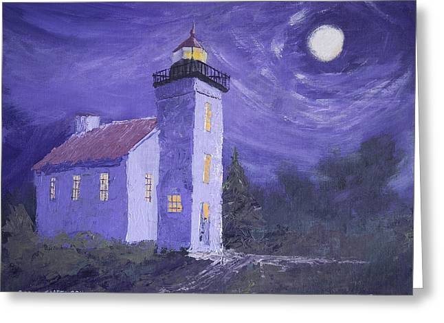 Sand Point Lighthouse Greeting Card by Jerry McElroy