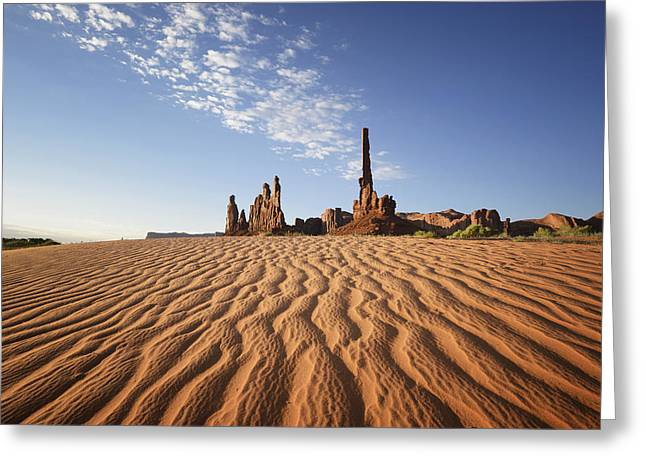 Sand Ripples And Rock Formationmonument Greeting Card by Peter Carroll