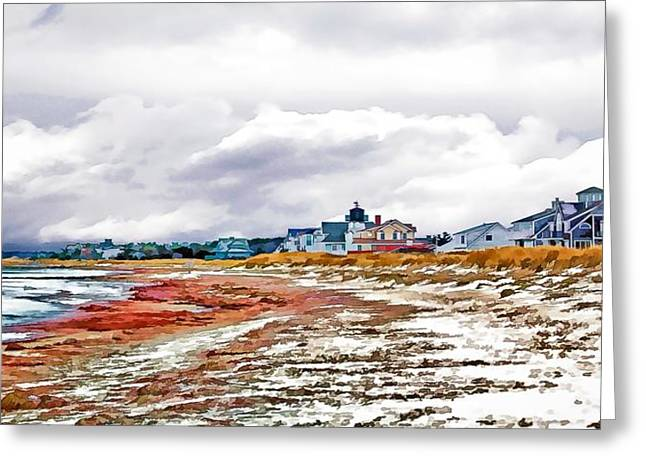 Greeting Card featuring the photograph Sand Snow And Seaweed Photo Art by Constantine Gregory