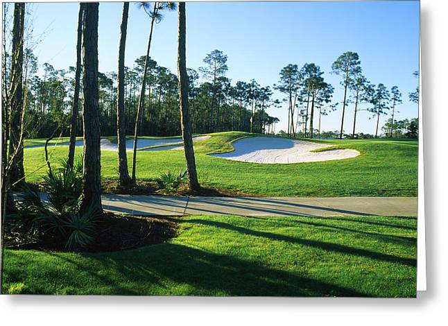 Sand Trap In A Golf Course, Regatta Bay Greeting Card