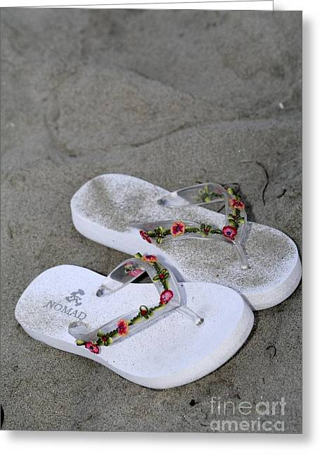 Sandals In The Sand Greeting Card by Laura Paine