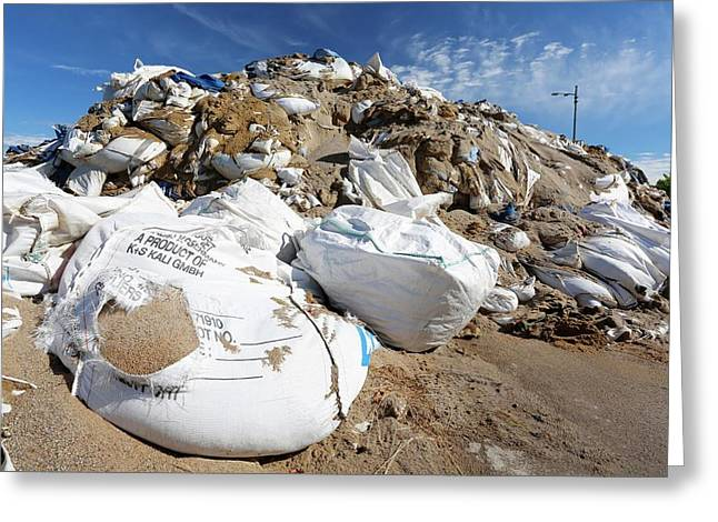 Sandbags In A Port After Flooding Greeting Card
