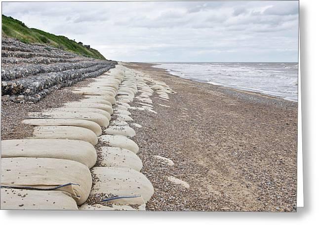 Sandbags On Beach Greeting Card