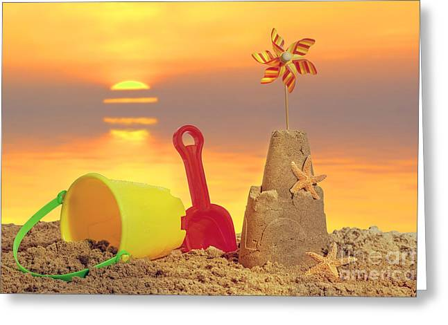 Sandcastle At Sunset Greeting Card by Amanda Elwell