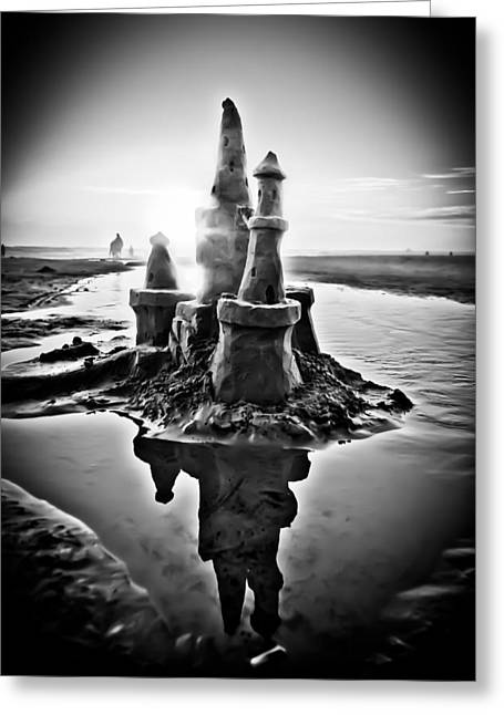 Sandcastle In Black And White Greeting Card