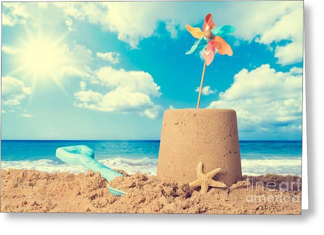 Sandcastle On Beach Greeting Card