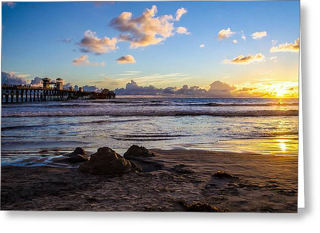 Sandcastle Sunset Greeting Card by Mike Ronnebeck