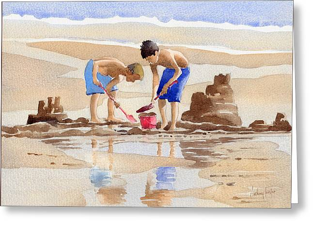 Sandcastles Greeting Card by Anthony Forster