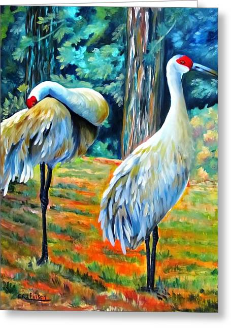 Sandhill Cranes At Twilight Greeting Card by Carol Allen Anfinsen